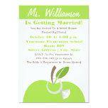 "Teacher Bridal Shower Invite - Green Apple & Ring 5"" X 7"" Invitation Card"