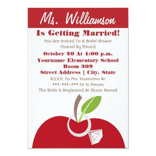 Teacher Bridal Shower Invite Red Apple Amp Ring Zazzle