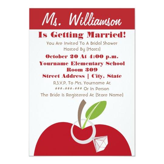 Teacher Bridal Shower Invite Red Apple Amp Ring Zazzle Com