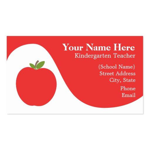 Teacher Business Card - Bright Red Apple
