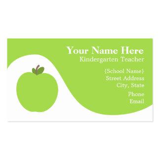 Teacher Business Card - Green Apple