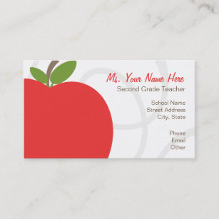 Apple business cards zazzle teacher business card oversized bright red apple colourmoves