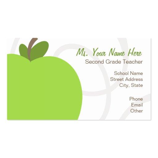 Teacher Business Card Oversized Green Apple