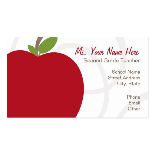 Teacher Business Card Oversized Red Apple