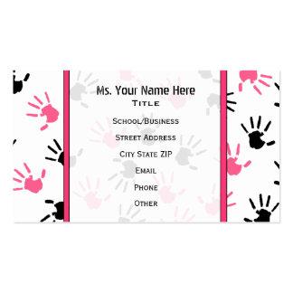 Teacher Business Card Pink & Black Handprints