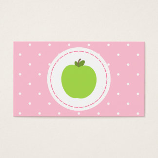 Teacher Business Card - Pink With White Polka Dots