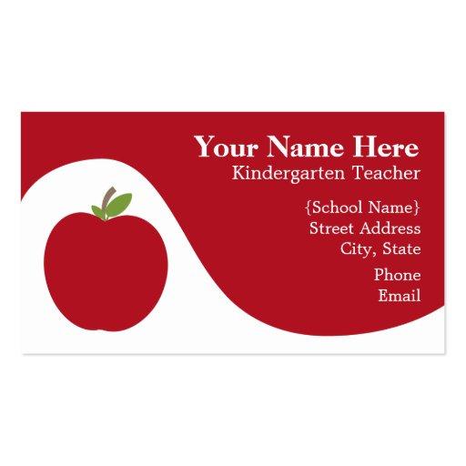 Teacher Business Card Red Apple