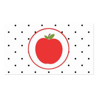 Teacher Business Card - Red Apple Small Polka Dots