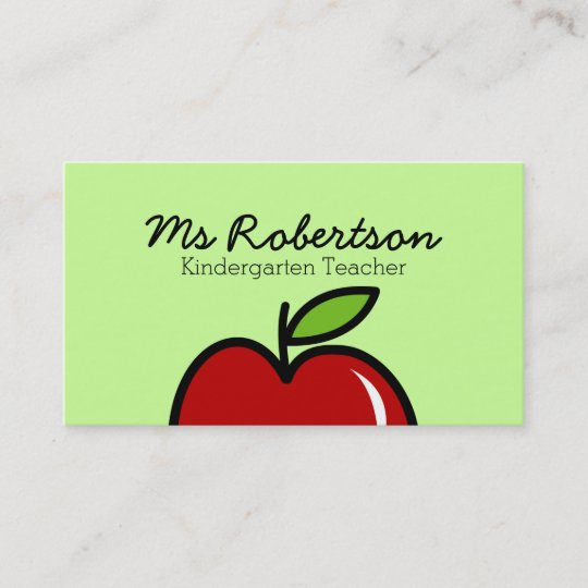 Teacher business card template with red apple zazzle teacher business card template with red apple reheart Images