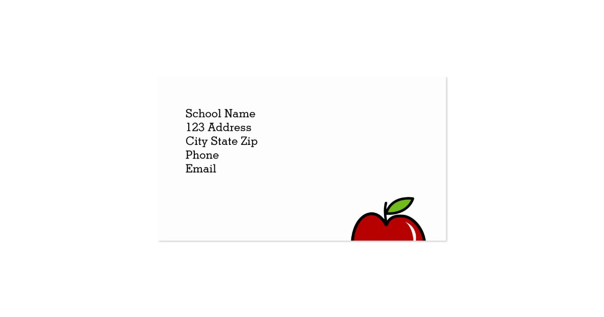 Teacher business card template with red apple : Zazzle