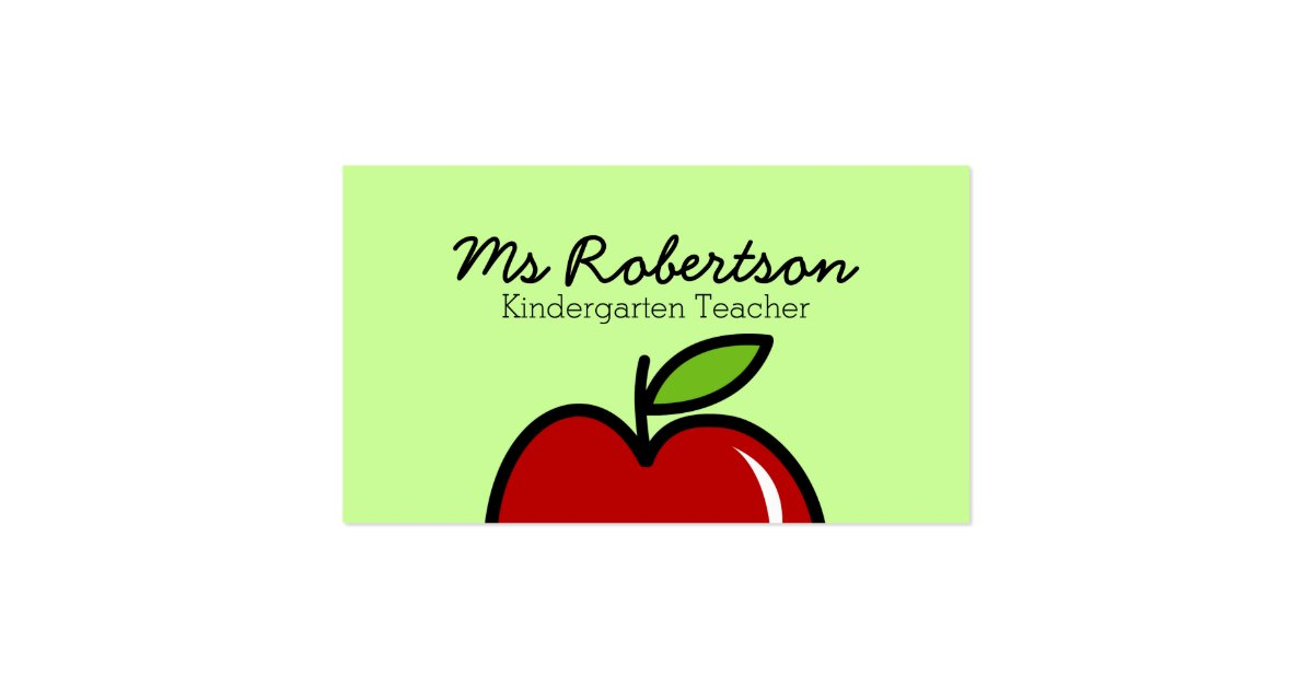 Teacher business card template with red apple zazzle for Business card template for mac