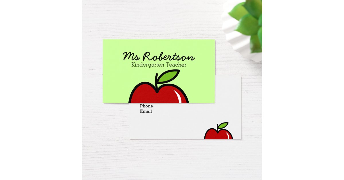 Apple business card template how to put your logo on a business teacher business card template with red apple zazzlecom cheaphphosting Image collections