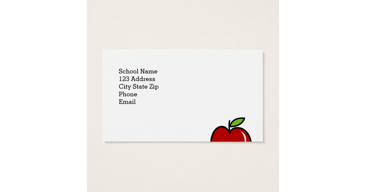 Teacher business card template with red apple   Zazzle.com
