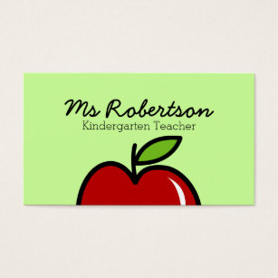 Teacher business cards templates zazzle teacher business card template with red apple cheaphphosting Image collections