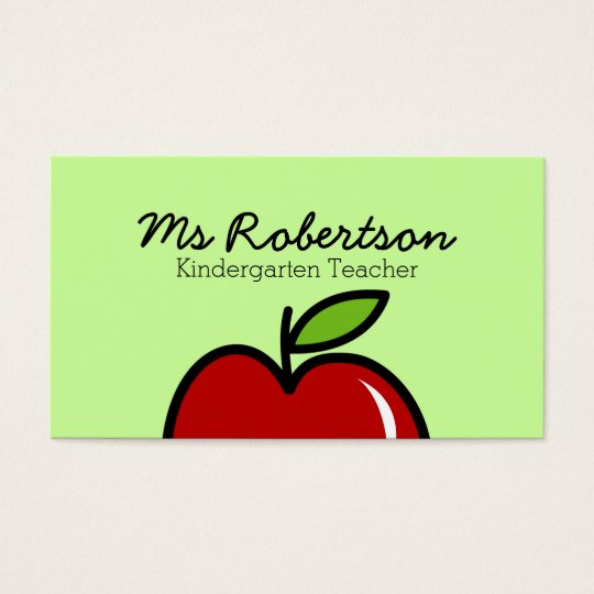 Teacher business card template with red apple zazzle teacher business card template with red apple wajeb Images