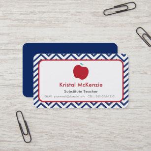 Teacher business cards zazzle teacher business cards navy blue chevron apple colourmoves