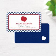 Teacher Business Cards Navy Blue Chevron & Apple at Zazzle