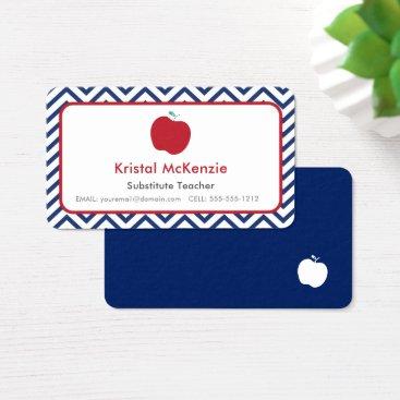 Professional Business Teacher Business Cards Navy Blue Chevron & Apple