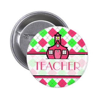 Teacher Button - Pink and Green Argyle