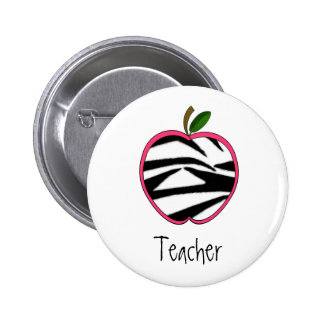 Teacher Button - Zebra Print Apple w Pink Outline