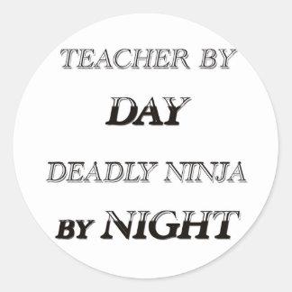 TEACHER BY DAY CLASSIC ROUND STICKER