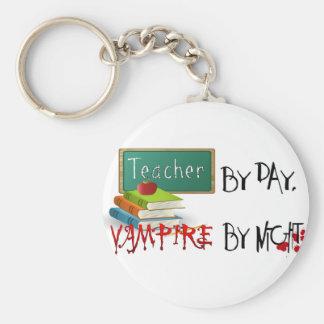 Teacher by day, Vampire by night Basic Round Button Keychain