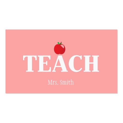 Teacher calling card business card template zazzle for Teacher business card template free