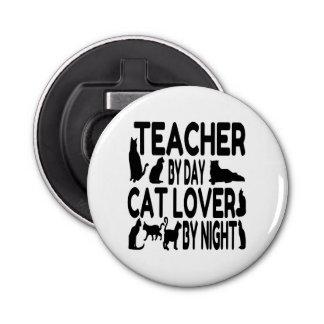 Teacher Cat Lover Button Bottle Opener