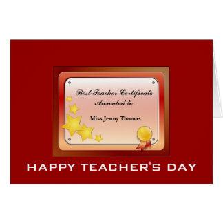 Teacher Certificate(Personalize) Card