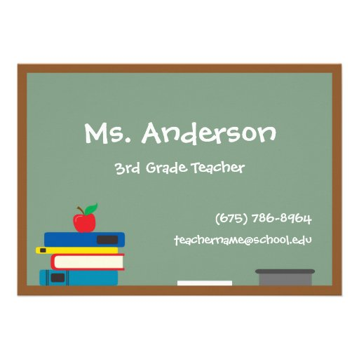 "Teacher Chalkboard Business Cards 5"" X 7"" Invitation"