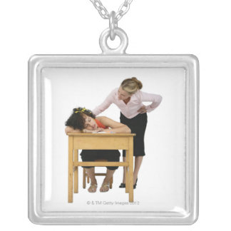 Teacher Checking on Student Asleep at Desk Square Pendant Necklace