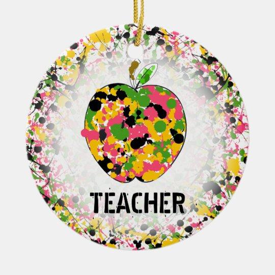 Teacher Christmas Ornament - Paint Splatter Apple