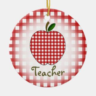 Teacher Christmas Ornament - Red Gignham Apple