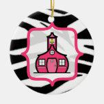 Teacher Christmas Ornament - Zebra Print & Pink