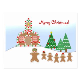 Teacher Christmas Postcard - Gingerbread Scene