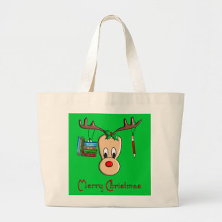 Teacher Christmas Reindeer--Adorable Gifts Large Tote Bag