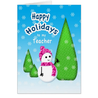 Teacher Christmas Snowman Card