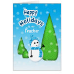 Teacher Christmas Snowman Greeting Card