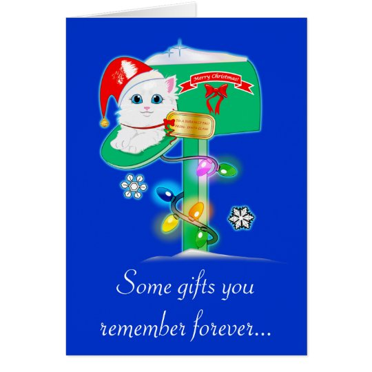 Teacher Christmas Surprise Kitty in Mailbox Blue Card
