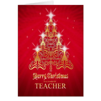 Teacher, Christmas tree Christmas card