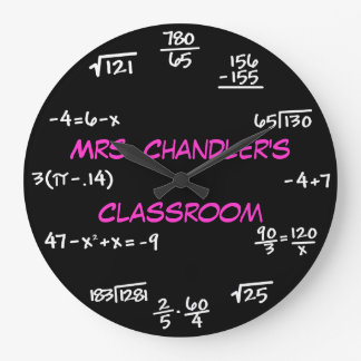 Teacher Classroom Chalkboard Math Clock - Custom