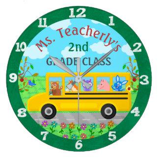 Teacher Classroom Cute Animals on Bus Custom Name Large Clock