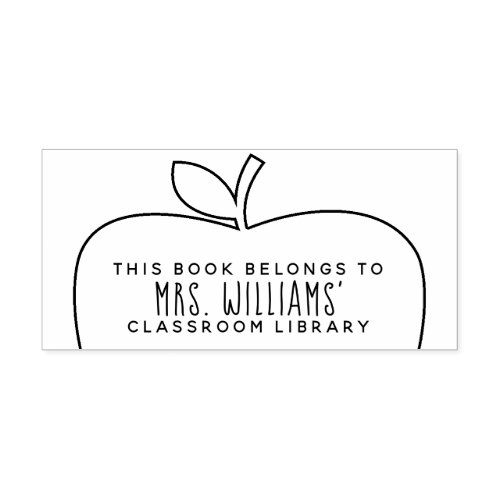 Teacher Classroom Library Apple Outline Self_inking Stamp