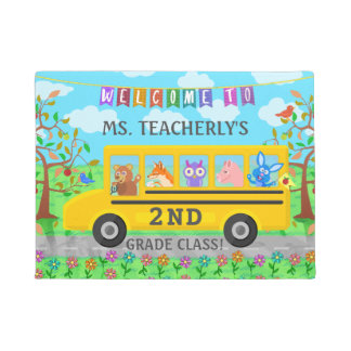 Teacher Classroom Welcome | Cute Animals on Bus Doormat