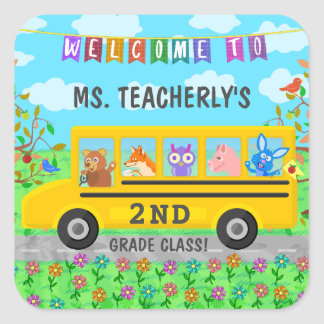 Teacher Classroom Welcome | Cute Animals on Bus Square Sticker