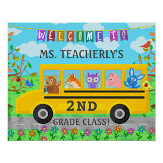 Teacher Classroom Welcome Sign Cute Animals on Bus
