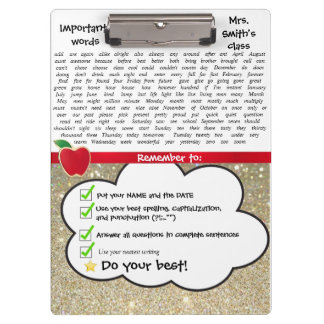 Teacher Clipboard with Sight Words- Customize!