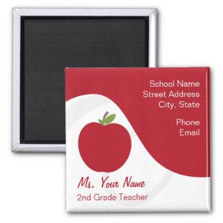 Teacher Contact Magnet - Red Apple
