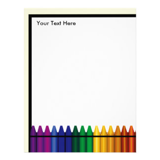 Teacher Crayon Design Letterhead Stationery