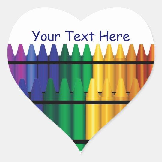 Teacher Crayons Heart Shape Sticker